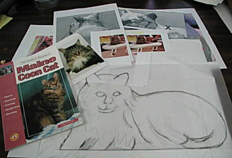 Some of the reference material and drawings.