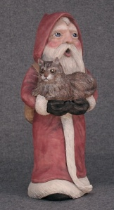 10-inch Santa with Maine Coon Cat