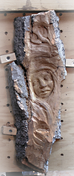 Female bark carving…now completed cahvah s we