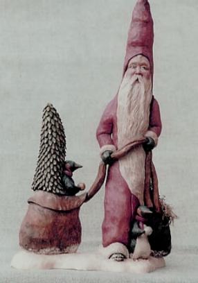 Cypress Knee Santa with Penguins. SOLD
