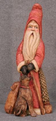 Cypress Knee Santa with Dog. SOLD