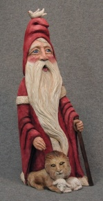 Cypress Knee Santa with Lion and Lamb. SOLD
