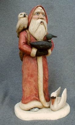 Santa with Swan, Owl and Loon. SOLD